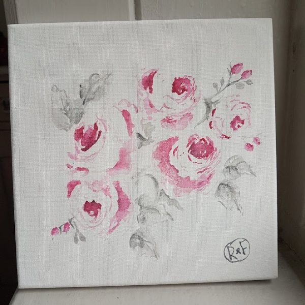 Bourbon Roses Acrylic Signed Painting on box mount by Rose and Foxgloves
