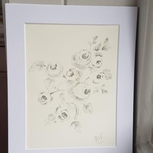 Climbing Grey Roses, Original Signed Watercolour Painting by Rose & Foxgloves