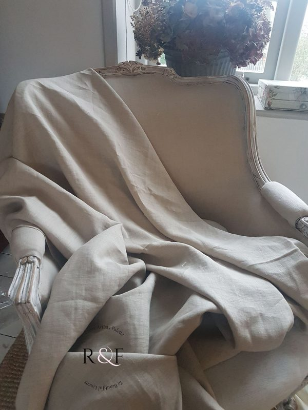 Natural Flax Linen-Rose and Foxgloves-Upholstery
