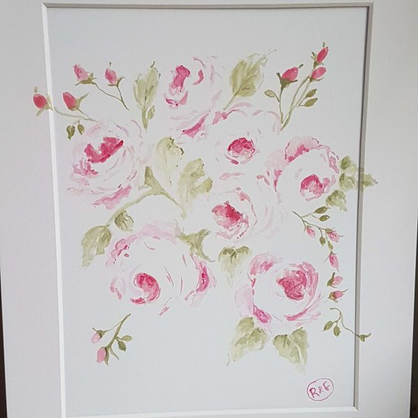 Pink Roses Acrylic Signed Painting in mount by Rose and Foxgloves