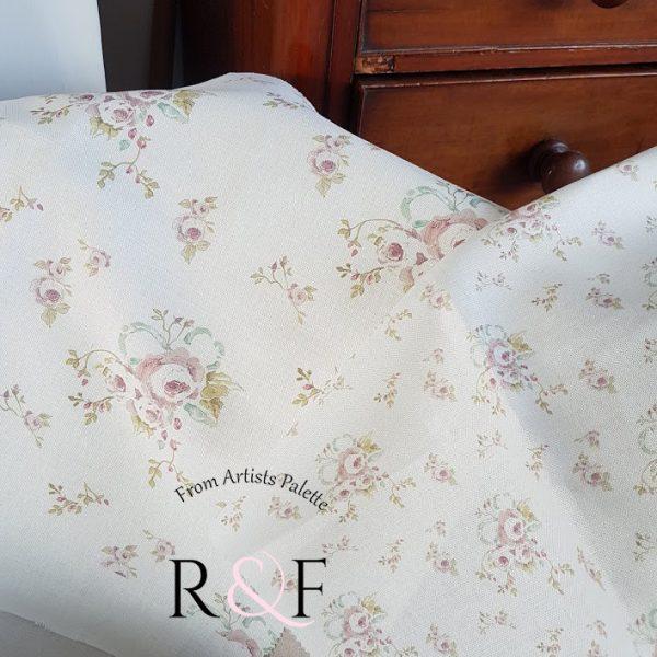 Victorian Posy Vintage Floral Linen by Rose & Foxgloves- Large design