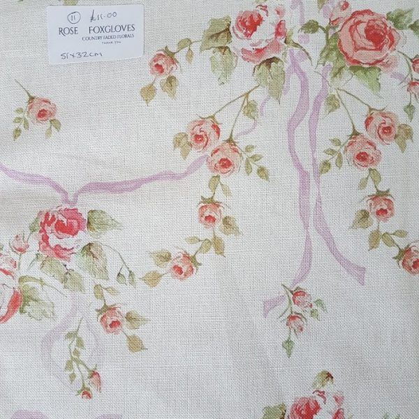 Ribbon & Roses Purple Ribbon Floral Linen Fabric Remnant Rose and Foxgloves