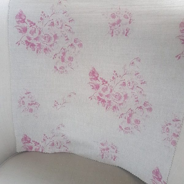 Fleur Faded French Pink Roses -Large design on Natural Linen
