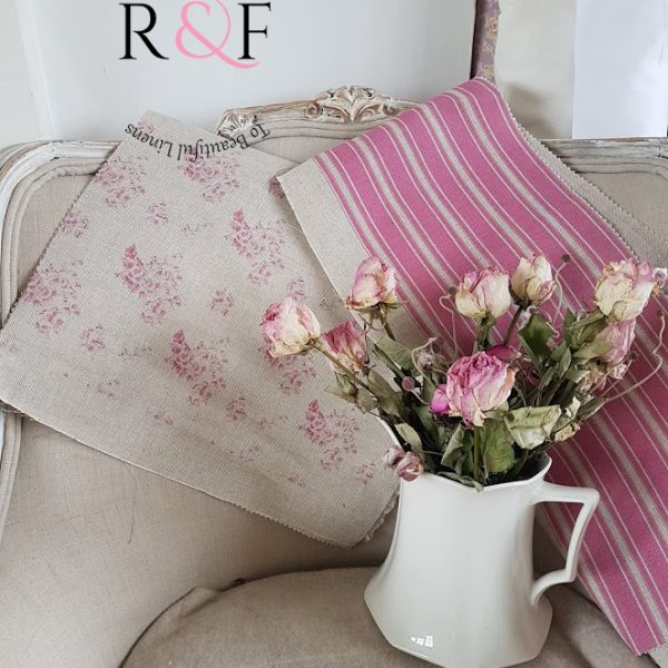 Fleur Faded Roses and Grainsack Stripes in French Rose Pink on Natural Linen- Rose and Foxgloves