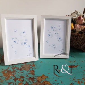Pair Faded French Blue Roses Signed Watercolour Paintings