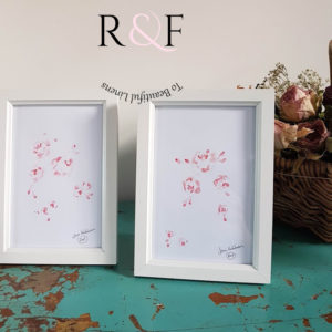 Pair Faded French Pink Roses Signed and Framed Watercolour Paintings