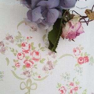 The Rose Garden French Floral Soft Green Ribbon Violets and Roses Linen Fabric