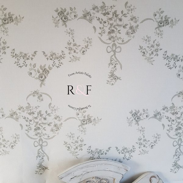 Rose Garden in Granite and Dove- Rose and Foxgloves Vintage Linen Fabrics