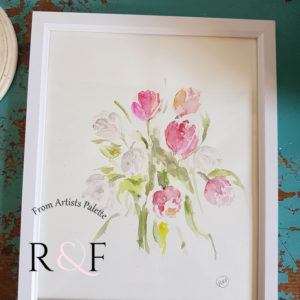 Springs Arrival- Tulips Watercolour Signed Original Framed Painting.
