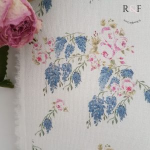 Wisteria & Roses English Country Garden Floral White Linen- Petite