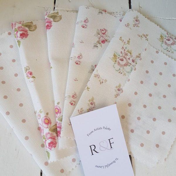 Floral Linen Offcutt Fabric Bundle R&F1