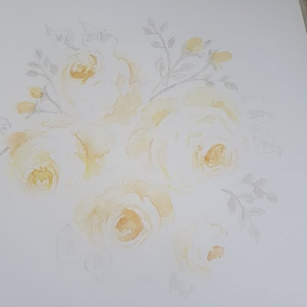 Morning Lemon Faded Roses Original Watercolour Painted Blank Card and Envelope