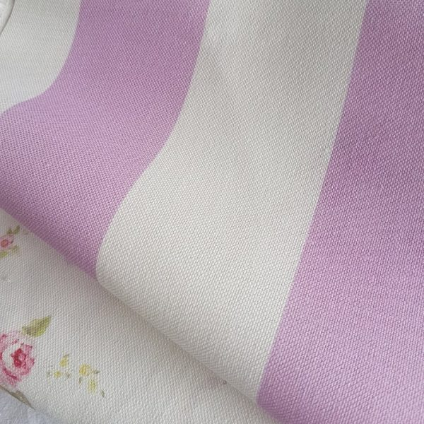 Old Lilac Broadstripe Linen Fabric.
