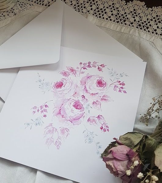 Roses with Love. Original Watercolour Signed Blank Card with Envelope