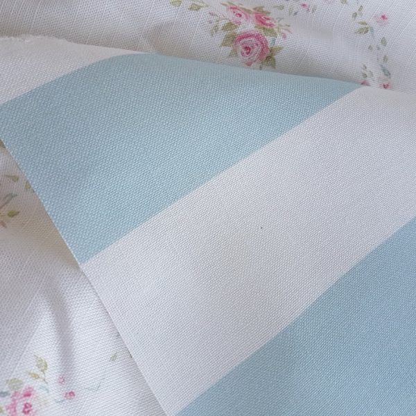 Soft Sky Blue in Broadstripe Linen Fabric by Rose and Foxgloves