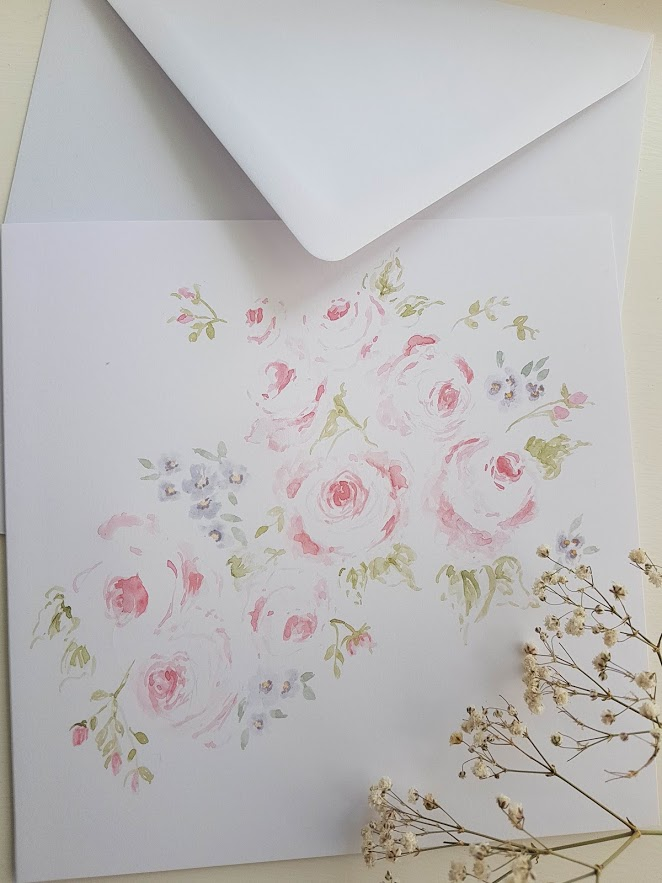 The Rose Garden Handpainted Watercolour Roses Card with Envelope
