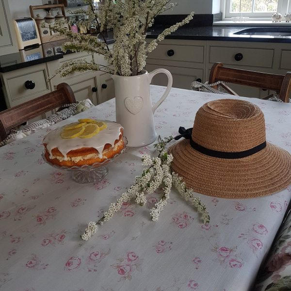 The Vintage Faded Rose Linen Table Cloth Rose and Foxgloves