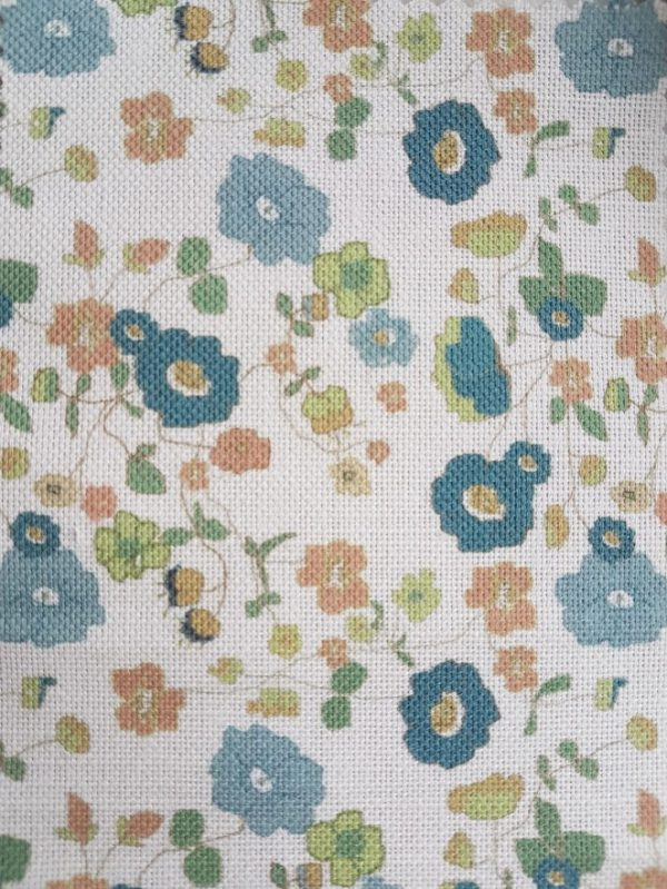 Wild Meadow Daisies in Vintage Blue Floral Linen Fabric