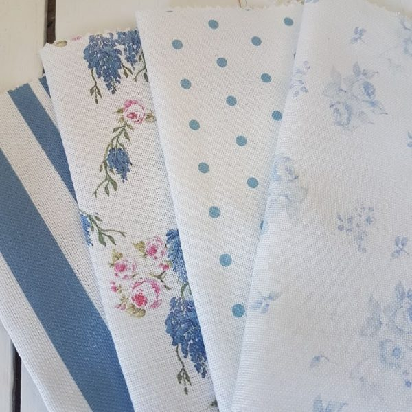 Florals, Polka Dots and Stripes Scrap Craft Bundle RF27 Made up of, Faded Blue Roses, Wisteria and Roses on Ivory, Coastal Stripes and Peacock Polka Dots.