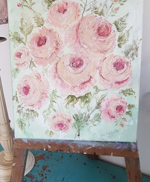 Apricot Roses Signed Original Acrylics Painting on Canvas