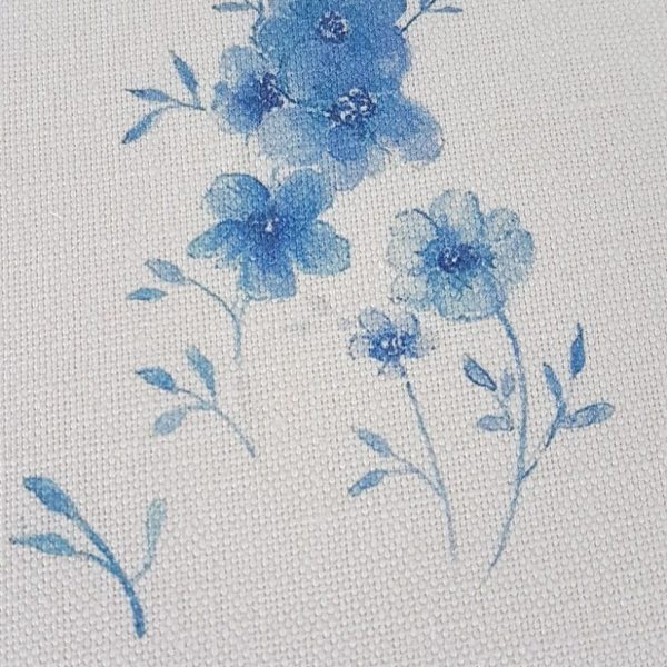 Blue Flax Flower Linen fabric large design