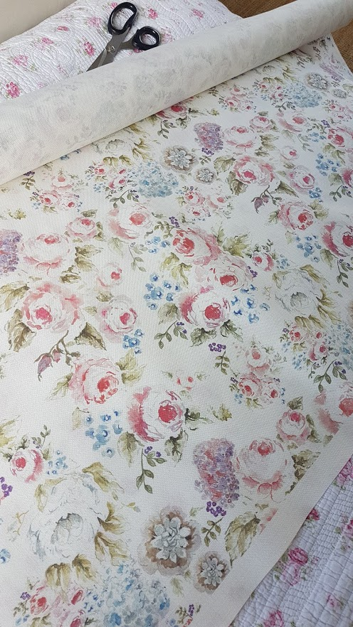 Cabbage roses floral linen by Rose and Foxgloves