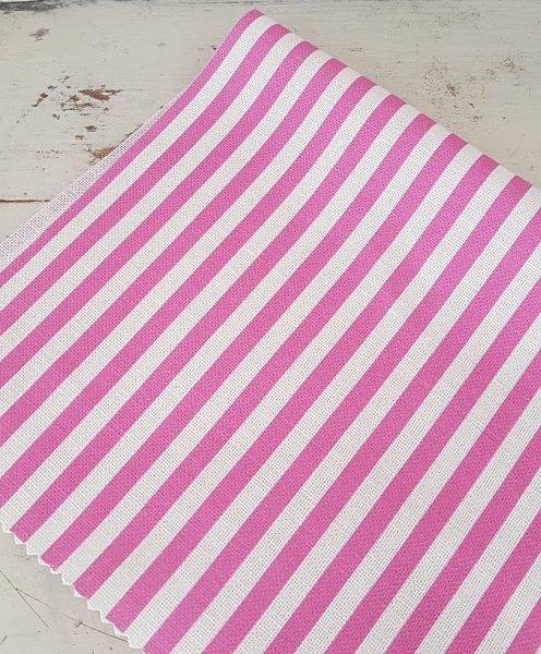 Cerise stripes Linen fabric