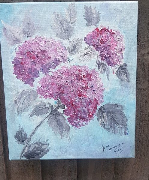 Hydrangea Signed Acrylic Painting by Rose and Foxgloves