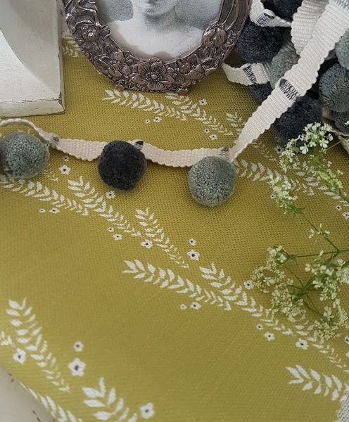 Leaf and Blossom In Old Olive and Ink, Floral Linen Fabric