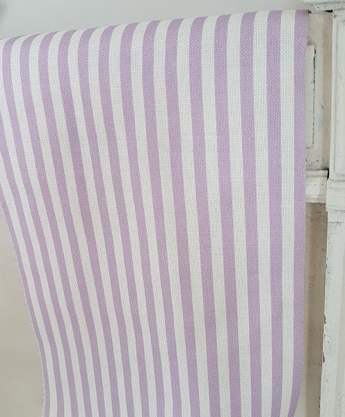Lilac stripes Linen fabric rose and foxgloves