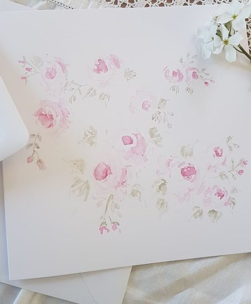 Petite Roses Original Handpainted signed watercolour card by Rose and Foxgloves