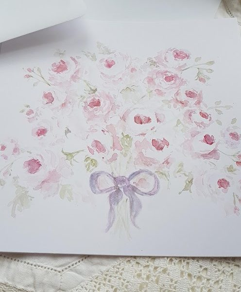 Posy of Roses Signed Original Watercolour Card