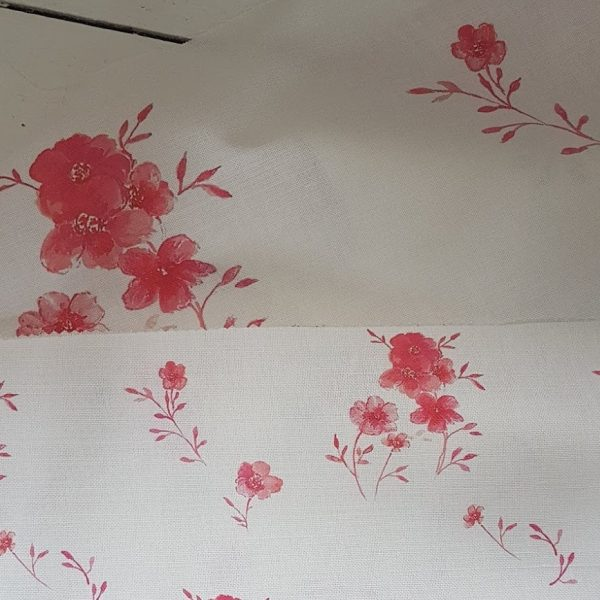 Scarlet Flax Daisy Large Floral Linen fabric by Rose and Foxgloves