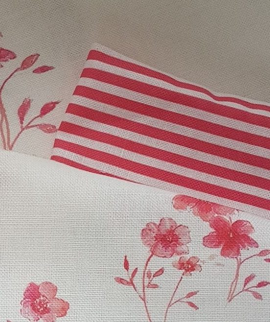 Scarlet Flax Ticking Linen Fabric