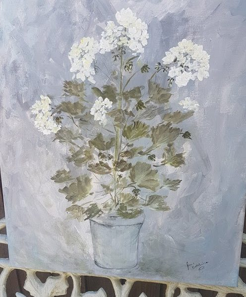 White Geranium in Pot Signed Acrylic Painting