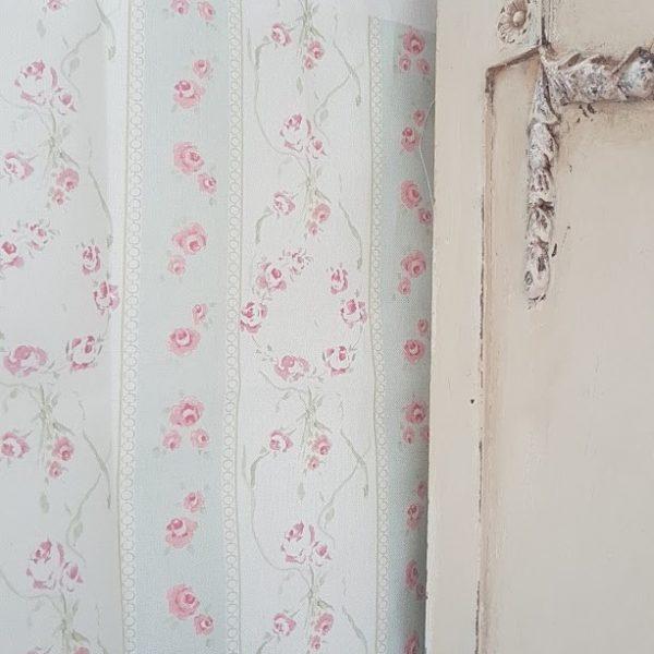 French-Soeur Emmanuelle Roses stripe Linen Fabric