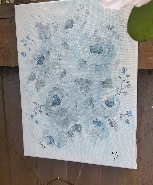 Softened Blue Roses Original Signed Painting