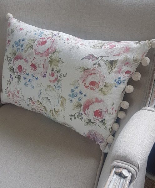 Cabbage Roses Floral Linen Cushion by Rose and Foxgloves