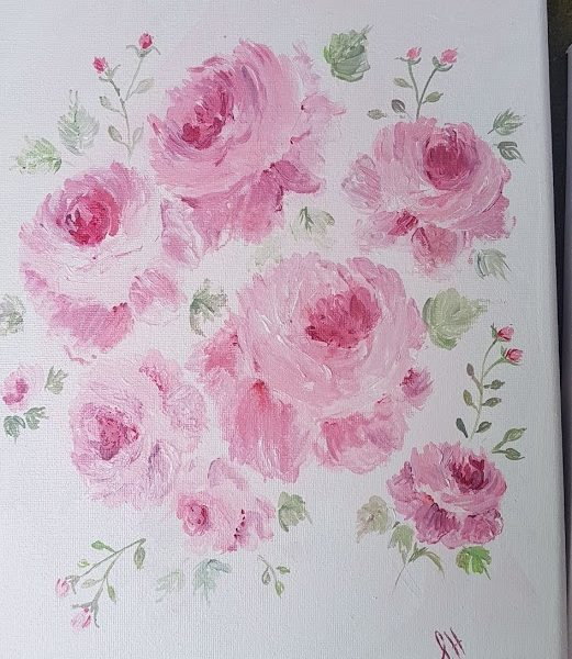 Cottage Roses Signed Original Acrylics Painting on Canvas