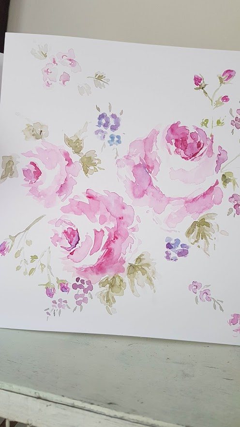 Commission watercolour roses painting Rose and Foxgloves