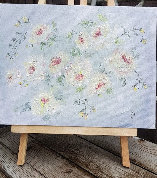 Lemon Garden Roses Original signed Painting on Canvas with Easel