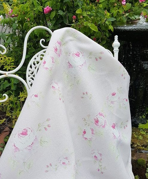 Mill on the Floss Faded Roses on Blush Pink Linen Fabric