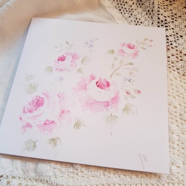 Morning Roses Original signed watercolour card by rose and foxgloves