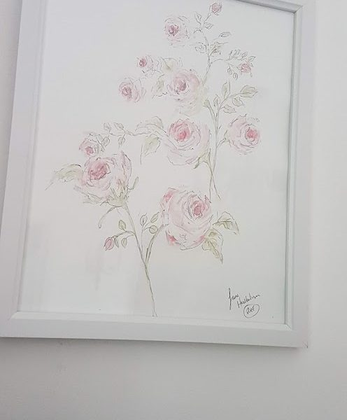Pen and watercolour roses original painting by Rose and Foxgloves