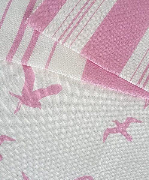 Pink Seagulls Linen Fabric