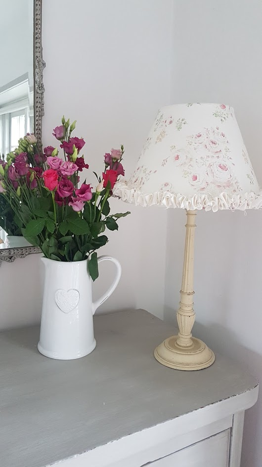 Roses by the Brook Ruffle Lampsade in Pink- Rose and Foxglove