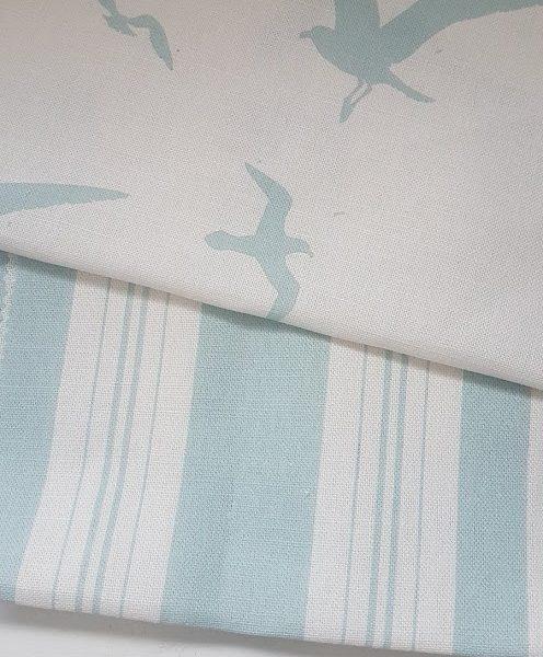 Seagulls Turquoise Grainsack Linen Fabric