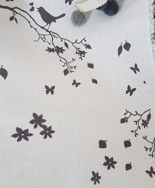 Songbird in Black on Ivory Linen