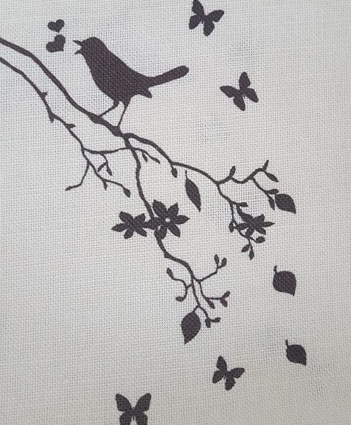 Songbird in Black on Ivory Linen
