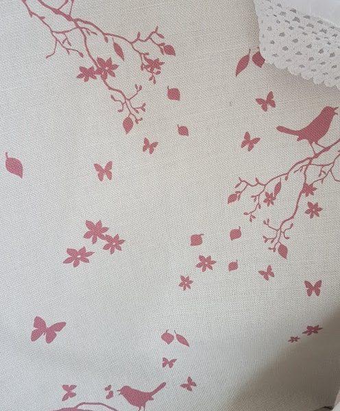Songbird in Old Raspberry Pink Linen Fabric